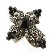 Jet Black Cross Ring Crystal Stones Silver Tone Cocktail Adjustable Jewellery
