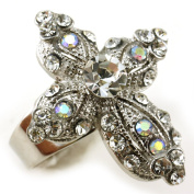 White Clear Cross Ring Crystal Stones Silver Tone Cocktail Adjustable Jewellery