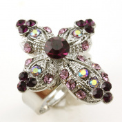 Violet Plum Purple Cross Ring Crystal Stones Silver Tone Cocktail Adjustable Jewellery