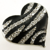 Black White Zebra Stripe Print Heart Ring Crystal Stones Silver Tone Cocktail Adjustable Jewellery