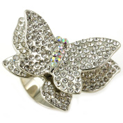 White Clear Double Butterfly Cocktail Ring Silver Tone Crystal Stones Adjustable Jewellery