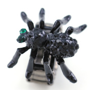 Halloween Costume Black Widow Spider Cocktail Ring Adjustable Stretch Band Black Crystals Charm Fashion Jewellery Ring
