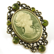 Biggest Natural Green Cameo Ring Vintage Antique Bronze Tone Adjustable Size Band Designer Women Lady Fashion Jewellery