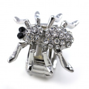 Halloween Costume Black Eyes Spider Cocktail Ring Adjustable Stretch Band High Polish Silver Tone Clear Crystals Charm Fashion Jewellery Ring