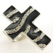 Black White Zebra Stripe Print Cross Ring Crystal Stones Silver Tone Cocktail Adjustable Jewellery