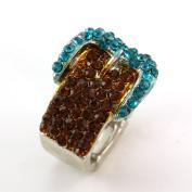 . Ladies Simple Brown Aqua Buckle Belt Cocktail Ring Blue Crystal Adjustable Silver Tone Jewellery