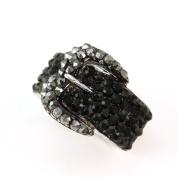 . Ladies Simple Black Buckle Belt Cocktail Ring Grey Jet Black Crystal Adjustable Silver Tone Jewellery