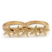 Gold Plated Double Finger 'Star' Ring - Size 7 & 8
