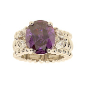 Oval Amethyst Colour Cubic Zirconia Stretch Fashion Cocktail Ring