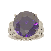 Big Amethyst Colour Round Cubic Zirconia Stretch Cocktail Ring
