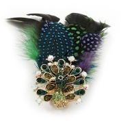 Oversized Green/Purple/Blue Feather 'Peacock' Stretch Ring In Gold Plating - Adjustable - 11cm Length