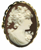 Cameo Ring Italian Master Carved Sterling Silver 18k Gold Overlay Size 7.5