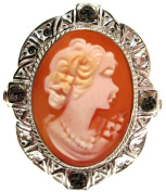 Cameo Ring Master Carved, Carnelian Shell 925 Sterling Silver Size 7.5 Italian