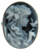 Cameo Ring, Italian Genuine Agate Stone Laser Carved Sterling Silver Size 7.5
