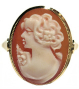 Cameo Ring Italian Master Carved, 18k Solid Yellow Gold Size 9.5