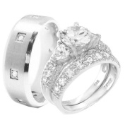 Wedding Ring Set 3 Pieces His & Hers, Men's STAINLESS STEEL & Women's Rhodium Plated STERLING SILVER Heart
