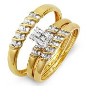 0.10 Carat (ctw) 10k Yellow Gold Round Diamond Ladies & Mens His Hers Bridal Ring Engagement Trio Set Band 1/10 CT