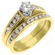 14k Yellow Gold 1 Carat Round Diamond Engagement Ring Wedding Band Bridal Set