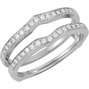 Elegant and . 1/4 ct. tw. Bridal Ring Guard in 14K White Gold ( Size 6 ), 100% Satisfaction Guaranteed.