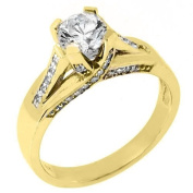 14k Yellow Gold Brilliant Round Diamond Engagement Ring 1.21 Carats