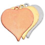 Stamping Blank Heart W/Ring 2.2cm 2/Pkg-Copper