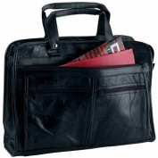 Maxam Brand Genuine Leather Briefcase features outside zippered pockets on both sides BCLBC