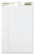 Nature Saver NAT00863 Recycled Pad- Jr. Legal Ruled- 5in.x8in.- 50 Sheets- White