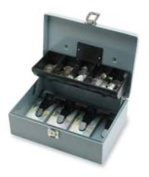 Sparco Key Lock Controller Cash Box With Tray, 5 Compartments, 8.7cm x 29cm x 19cm , Grey