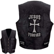 Giovanni Navarre Leather Vest with Christian Patch- L