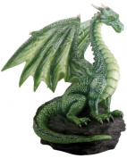 Green Dragon On Rock Figurine