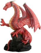 Red Dragon On Rock Figurine