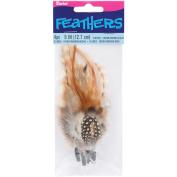 Feather Picks 13cm 4/Pkg-Brown/Black/Cream