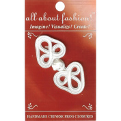 Vision Trims 4656 Handmade Chinese Frog Closure 1-1-4 in. x 2-3-4 in. 1-Pkg-White Flower Heart