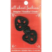 Handmade Chinese Frog Closure 2.5cm - 0.6cm x 7cm 1/Pkg-Black Flower Heart