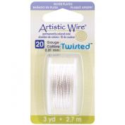 Beadalon Artistic Wire Twisted Round, 3 Yds/pkg, 20 Gauge, Silver
