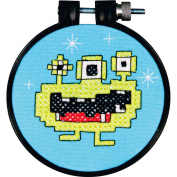 Dimensions Learn-a-Craft Monster Stamped Cross Stitch Kit, 7.6cm round