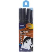 Pro Art Black Artists Pens, 4/pkg