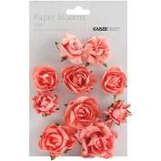Paper Blooms 2.5cm To 3.8cm 10/Pkg-Coral