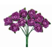 Mini Paper Blooms .13cm Flower On Wire Stem-Grape