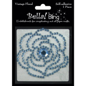 Ruby Rock-It BG35 Bling Self-Adhesive Rhinestone Vintage Floral-Blue