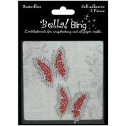 Ruby Rock-It BGN54 Bling Self-Adhesive Rhinestone Butterflies 2-Pkg-Red