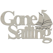 Die-Cut Grey Chipboard Word-Gone Sailing, 5.1cm X9.5cm