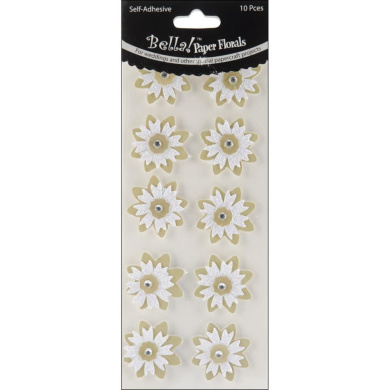 Bella! Wedding Glittered Self-Adhesive Paper Florals 10/Pkg-Gold