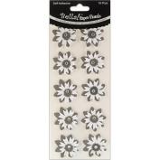 Bella! Wedding Glittered Self-Adhesive Paper Florals 10/Pkg-Black