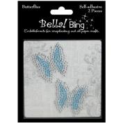 Ruby Rock-It BGN30 Bling Self-Adhesive Rhinestone Butterflies 2-Pkg-Blue