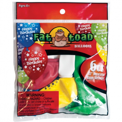 Fat Toad Deco Latex Balloons 30cm 6/Pkg-Birthday Stars
