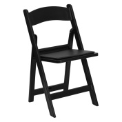 Flash Furniture LE-L-1-BLACK-GG Hercules 1000 lb. Capacity Black Resin Folding Chair with Black Vinyl Seat