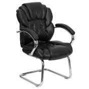 Flash Furniture GO-908V-BK-SIDE-GG Black Leather Transitional Side Chair with Sled Base