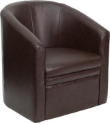 Flash Furniture Barrel-Shaped Guest Chair, Brown