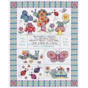 Janlynn Bug In A Rug Birth Announcement Counted Cross Stitch Kit 9 3/4'X12 3/4' 14 Count